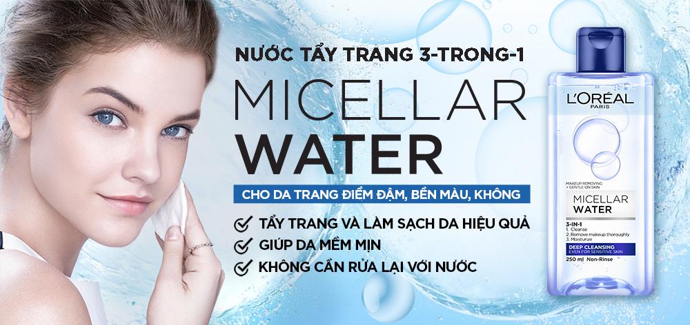 Nước tẩy trang L'Oreal Paris 3-in-1 Micellar Water.