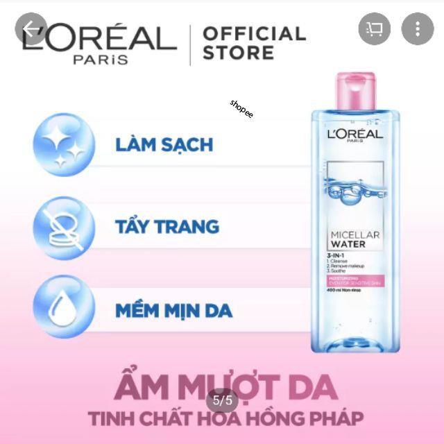 Nước tẩy trang L'Oréal Paris 3In1 Micellar Water moisturizing.