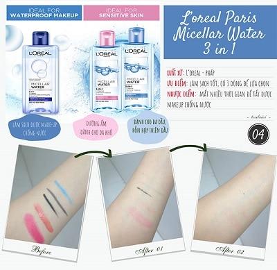 Bộ 3 dòng sản phẩm nước tẩy trang L'Oréal.