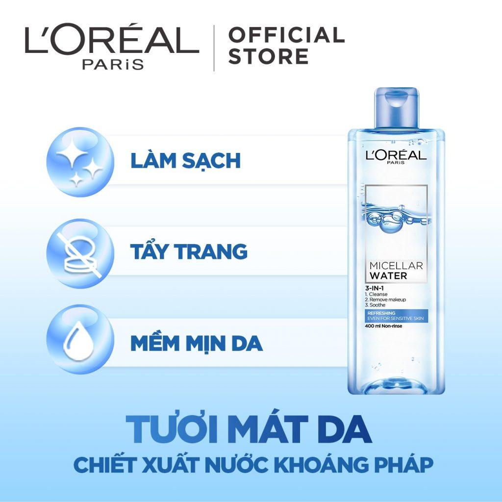 Nước tẩy trang L'Oréal Paris 3In1 Micella Water Refreshing.