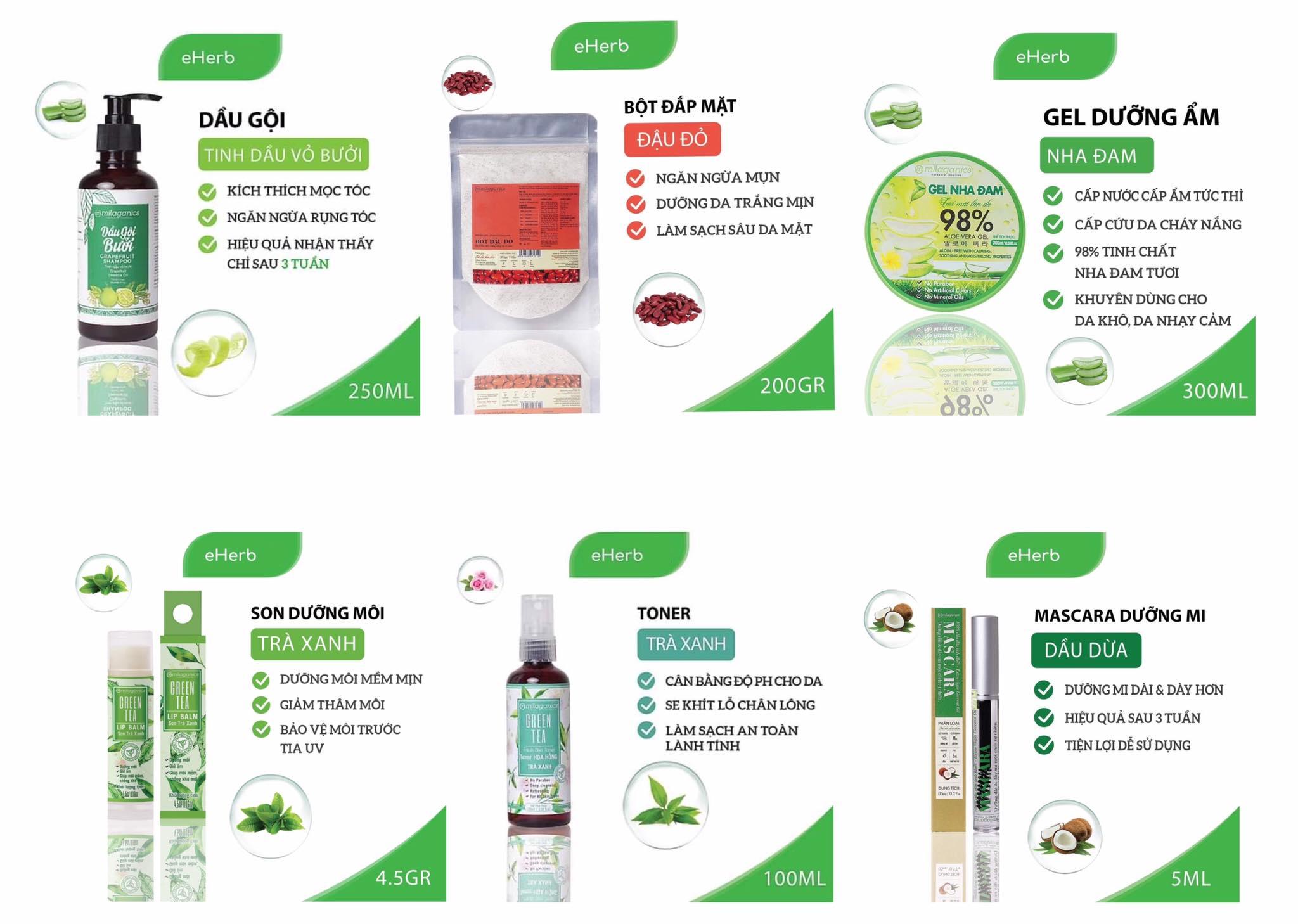 Một số sản phẩm của eHerb Việt Nam.